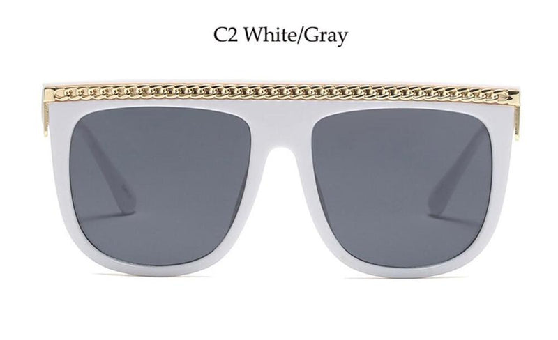 Womens FLAT TOP SILVER CHAIN CELEBRITY Sunglasses GREEN