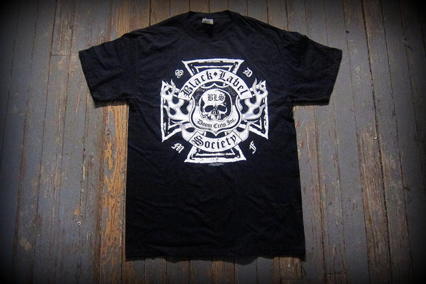 BLACK LABEL SOCIETY -Doom Crew Inc. Flaming Iron Cross - Two Sided Printed T-shirt