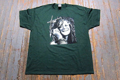 JANIS JOPLIN- Up Close- T-shirt - Color Forest Green