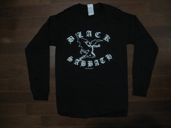 Black Sabbath- Flying Demon Between Arched Old English Logo- Long sleeve Shirt. Two sided print