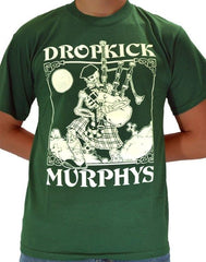 DROPKICK MURPHYS - Vintage Skeleton Piper - T-shirt - Color Forest Green
