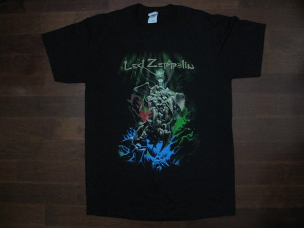 Led Zeppelin -Tower Of Angels Art Within Blue & Green Smoke Under Logo/ T-shirt.