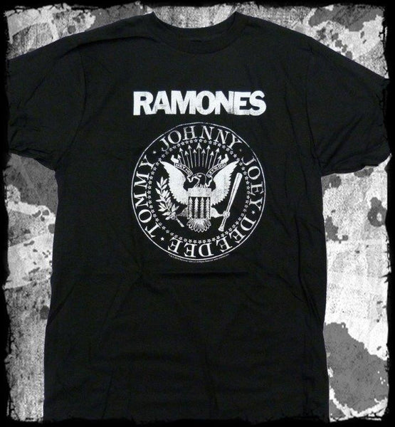 Ramones- Presidential  Logo.Hey Ho Let's Go - Slim Fit  Soft T-Shirt. Distressed Printing !