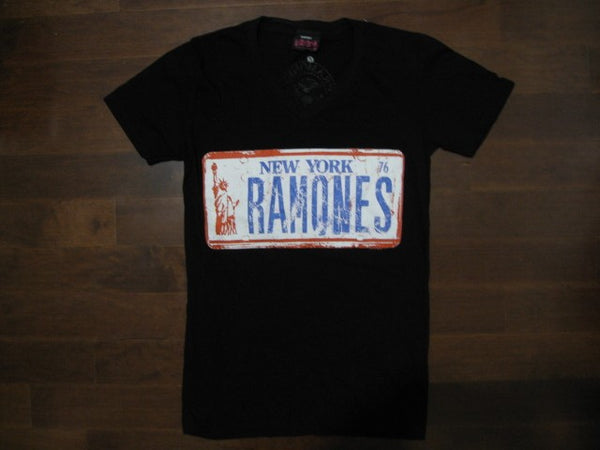 Ramones- License Plate Logo-Ladies  V Neck T-Shirt.