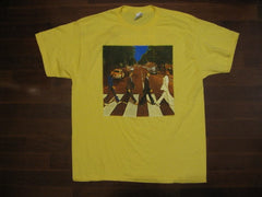 BEATLES-ABBEY ROAD- Vintige Yellow -T-SHIRT- Printed Front And Back
