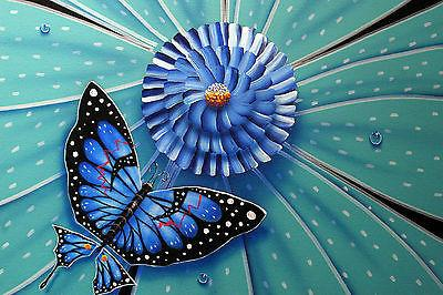 Colored Flowers and Butterfly on Paper by Michael Godard