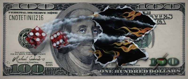 $100 Bill Snake Eyes by Michael Godard