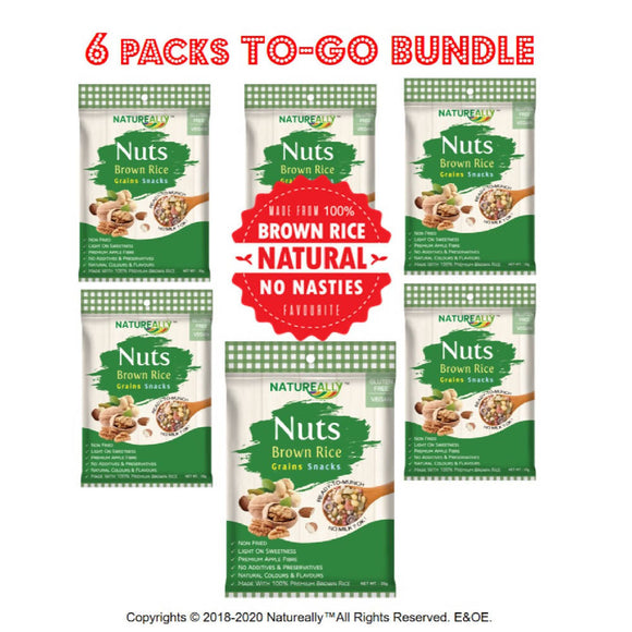 Value Pack Of 6x35g NATUREALLY™™ Brown Rice and Nuts Grains Snacks Cereal (Gluten Free)