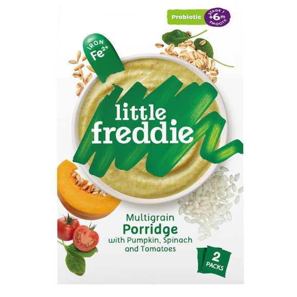 Little Freddie Multigrain Porridge with Pumpkin, Spinach and Tomatoes (Probiotic) 160g [BBF 21 Jan 2021]