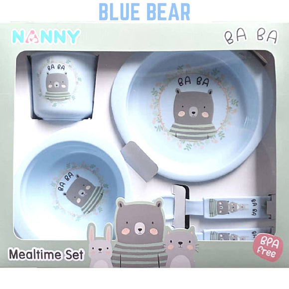 Shears Baby Feeding Set Nanny 5pcs Set Blue Bear