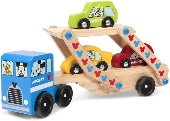 Melissa & Doug Mickey Mouse Car Carrier Truck and Cars Wooden Toy Set With 1 Truck and 3 Cars - WERONE