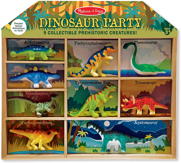 Melissa & Doug Dinosaur Party Play Set - 9 Collectible Miniature Dinosaurs in a Case - WERONE