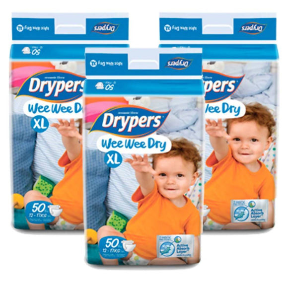 Drypers Wee Wee Dry XL 50s x 3 packs (12 - 17kg) 150 pcs - WERONE
