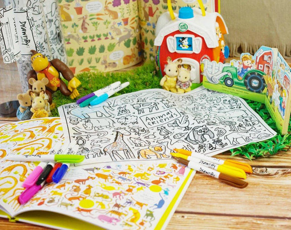 Drawnby: Jessica Animal Friends Washable Silicone Colouring Mat with 12 Markers - WERONE