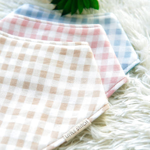 Little Stitch Double Gauze Checkered Bibdana - WERONE