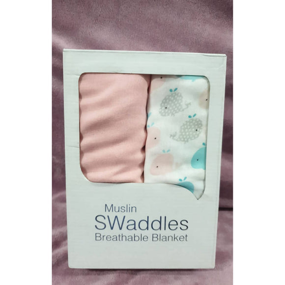Whale Cotton Swaddle - 100cm x 100cm (1pc only) - WERONE