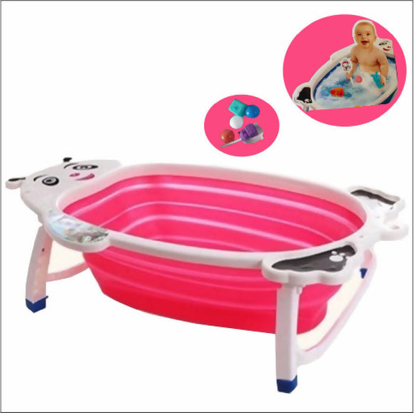 Shears Foldable Baby Bathtub with Toys - Pink - WERONE