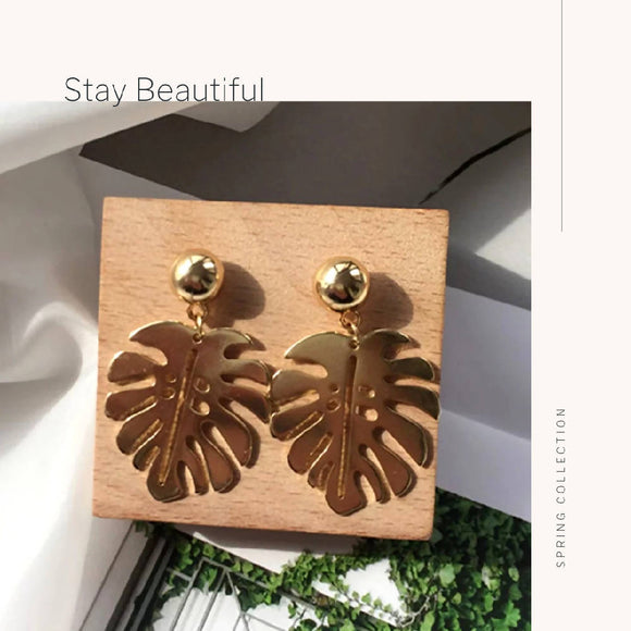 Golden Palm Leaf Earrings - WERONE