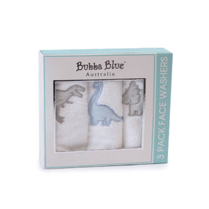 Bubba Blue Jurrasic Pack of 3 Face washers - WERONE