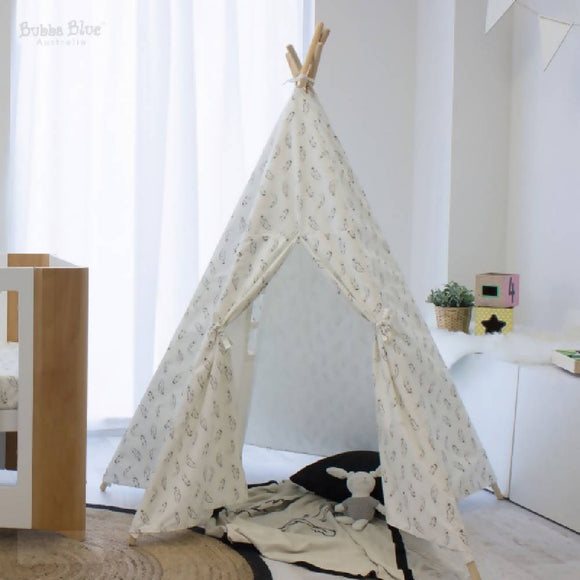 Bubba Blue Organic Cotton Feathers Teepee Tent - WERONE