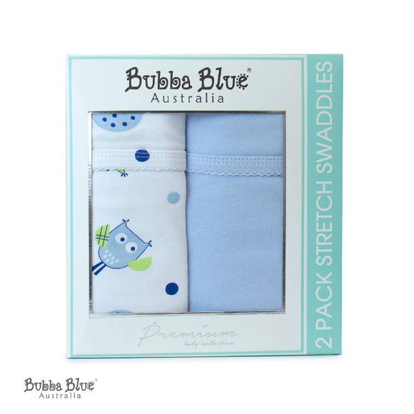 Bubba Blue Boy Baby Owl 2Pk Stretch Swaddle Wraps - WERONE