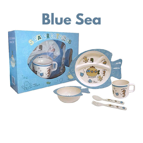 Shears Baby Feeding Set Melamine 5pcs Set Blue Sea