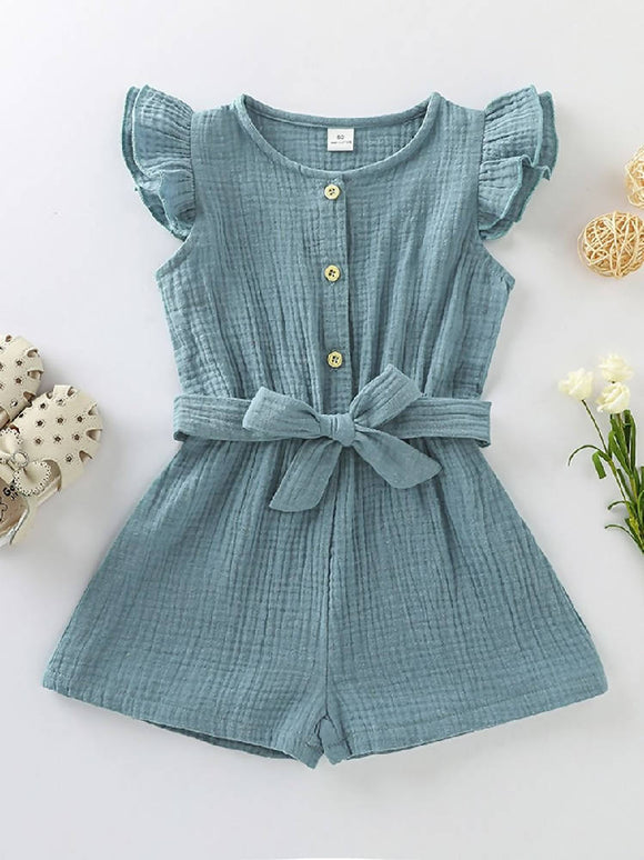 HEIDI RUFFLE SLEEVE BUTTON DOWN ROMPER WITH SASH - BLUE