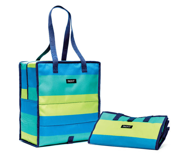 PackIt Grocery Bag Tote Bag, Fresh Stripes