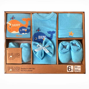 Shears Purest Gift Set 6pcs Baby Gift Set Blue Whale SGP6BW
