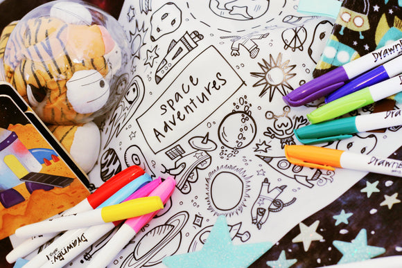 Drawnby: Jessica Space Adventures Washable Silicone Colouring Mat with 12 Markers - WERONE