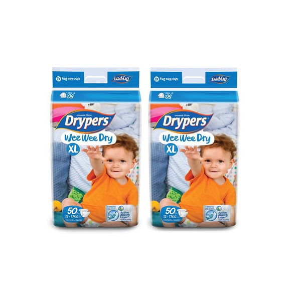 Drypers Wee Wee Dry XL 50s x 2 packs (12 - 17kg) 100pcs - WERONE
