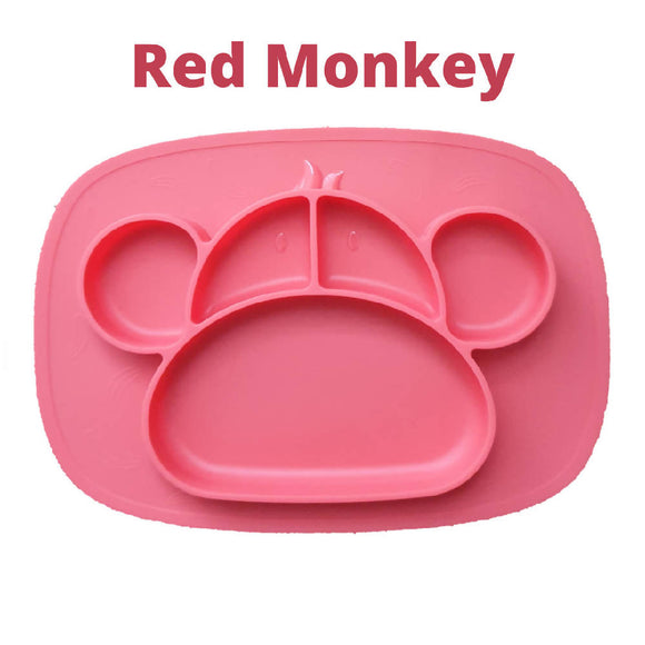 Shears Baby Plate Food Grade Silicone Place Mat Red Monkey