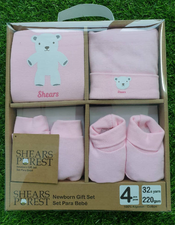 Shears Purest Baby Gift Set Pink Bear - WERONE