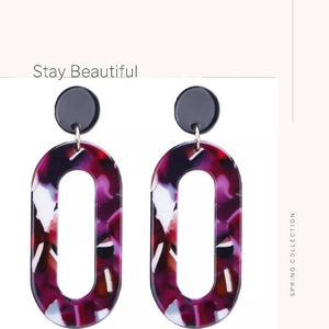 Resin Oval Dangle Earrings in Red - WERONE