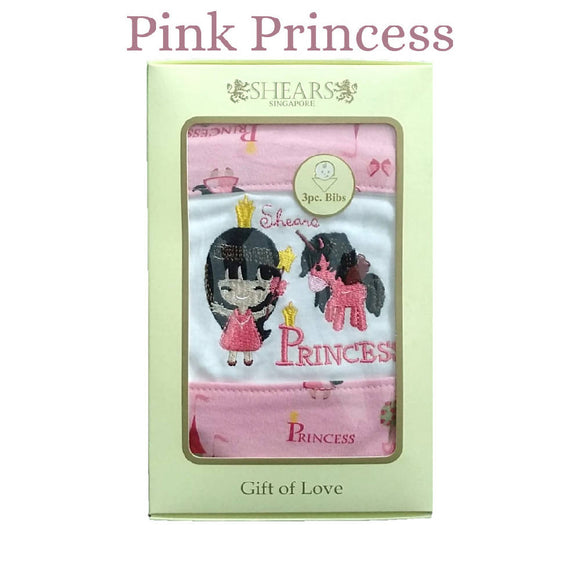 Shears Bib Exclusive Baby Bib 3 Pcs Set Pink Princess SEBPP