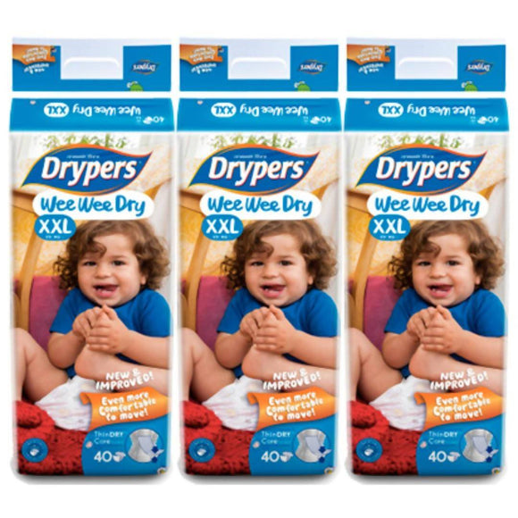 Drypers Wee Wee Dry XXL 40s x 3 packs (15 kg & above) 120 pcs - WERONE