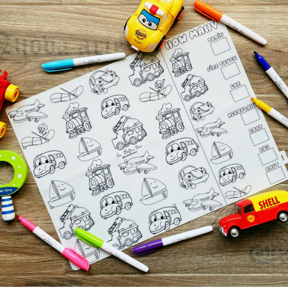 Reusable Silicone Colouring Mat 40cm x 30cm – How Many Vehicles