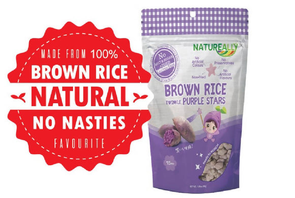 NATUREALLY™ Brown Rice On The Go Puff Purple Stars (No Sugar, Salt and MSG Added) 30g