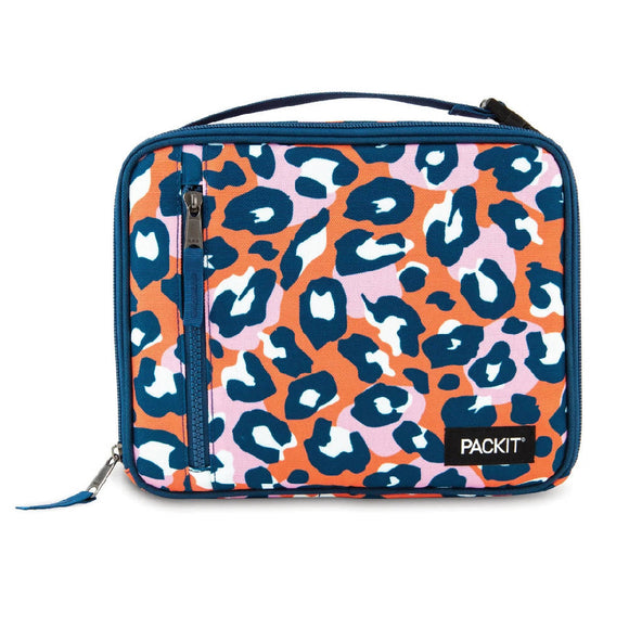 PackIt Freezable Classic Lunch Box Bag, Wild Leopard Orange (NEW 2020)