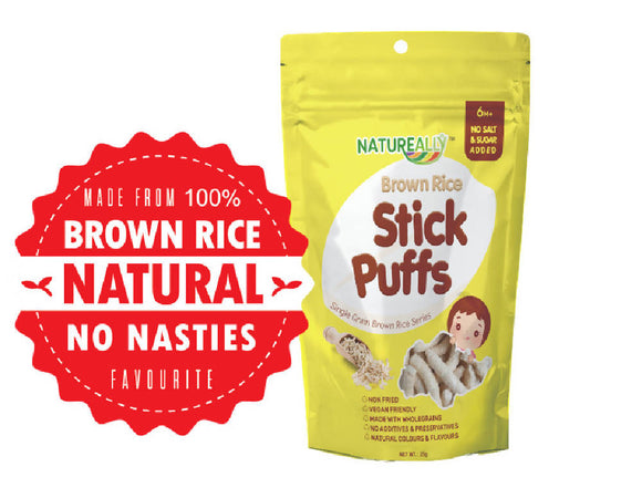 NATUREALLY™ Original Brown Rice Stick Puffs (No Sugar, Salt, MSG and Oil Added) 25g
