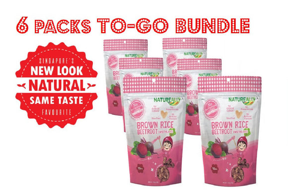 Value Pack Of 6x30g NATUREALLY™ Brown Rice On The Go Puff Beetroot Sweethearts (No Sugar, Salt and MSG Added) - WERONE