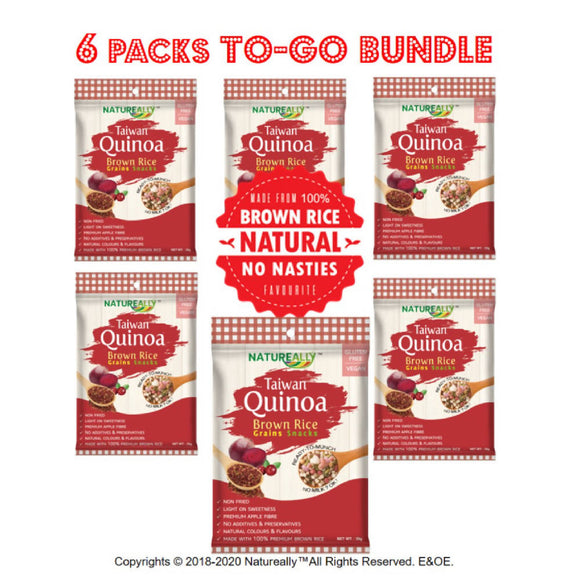 Value Pack Of 6x35g NATUREALLY™ Brown Rice and Red Quinoa Grains Snacks Cereal (Gluten Free)