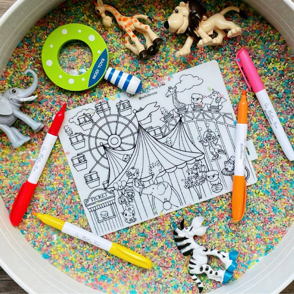 Reusable Silicone Colouring Mat 20cm x 15cm – Theme Park