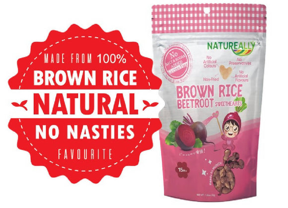 NATUREALLY™ Brown Rice On The Go Puff Beetroot Sweethearts (No Sugar, Salt and MSG Added) 30g - WERONE