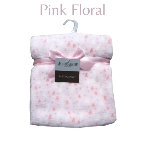 Shears Blanket Basic Baby Blanket Pink Floral SCFBP