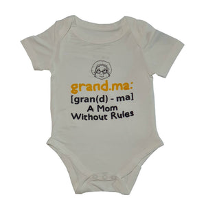 Bebe Bamboo Cute Saying Onesie - Grandma, A Mom Without Rules - WERONE