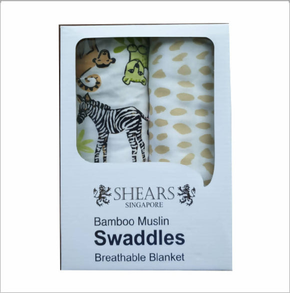 Shears Bamboo Muslin Swaddles Breathable Blanket - Zebra, Tiger and Lion Design - WERONE