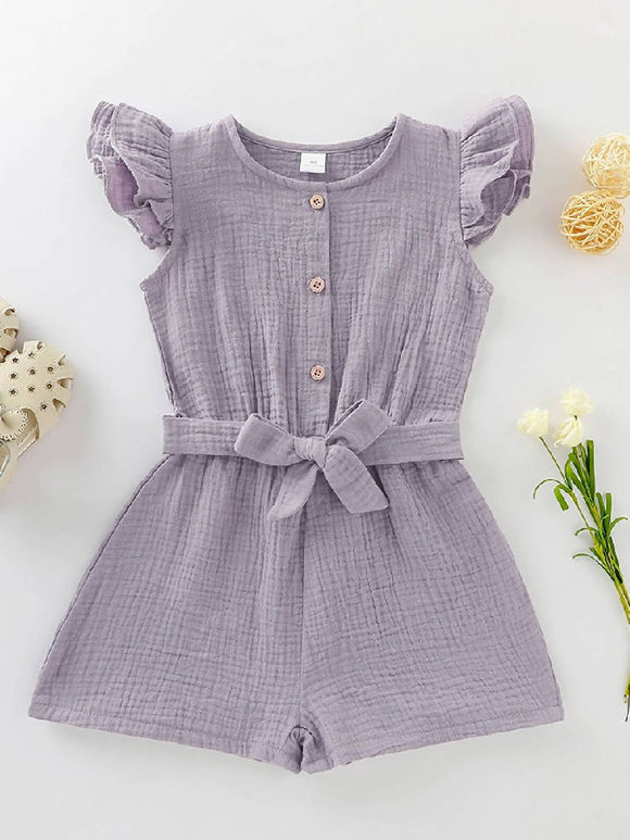 Heidi Ruffle Sleeve Button down Romper with sash - Purple