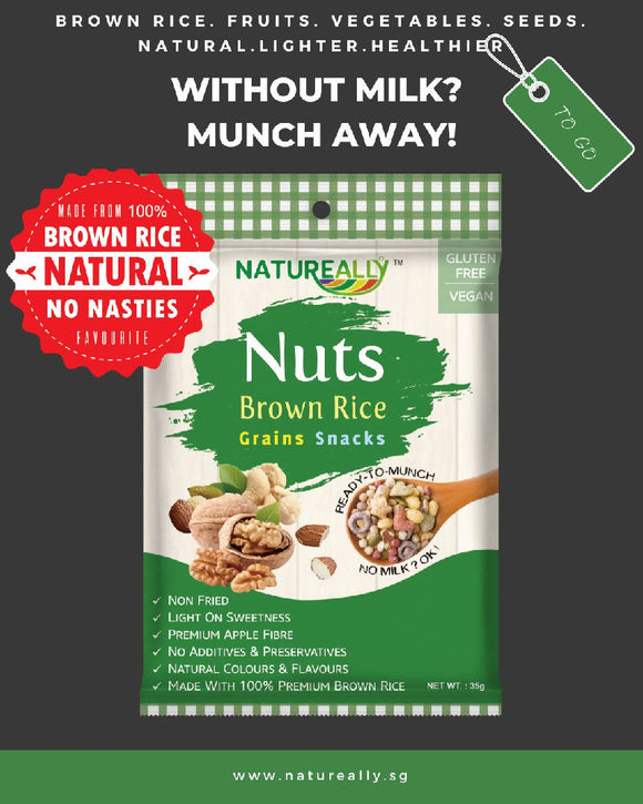 Gluten Free NATUREALLY™ Brown Rice and Nuts Grains Snacks Cereal 35g - WERONE