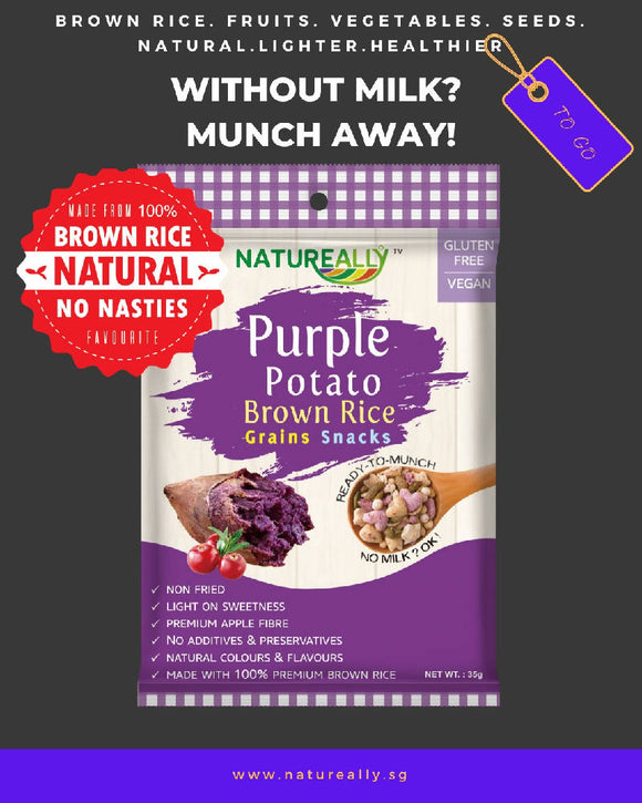 Gluten Free NATUREALLY™ Brown Rice and Purple Potato Grains Snacks Cereal 35g - WERONE